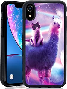 Space Alpaca and Kitten iPhone Xr Phone Case, Shockproof Soft TPU Premium PC Protective Customized Design Bumper for iPhone Xr-Black