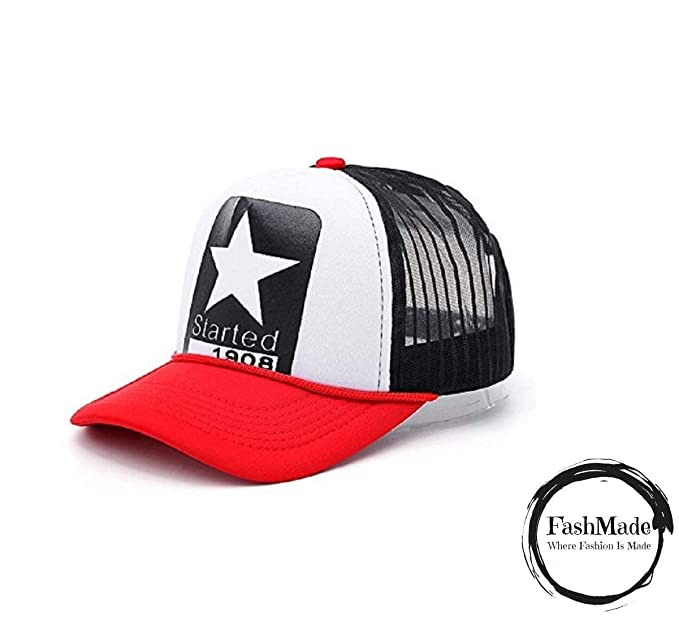 cd2d93dc9b5 FashMade 1908 Star Printed Halfnet Cap for Men Boys   Women Girls Red   Amazon.in  Clothing   Accessories