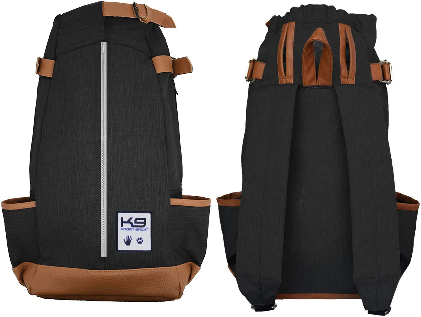 Dog Carrier Backpack for Small and Medium Pets Veterinarian Approved Medium, Air - Jet Black Fully Ventilated Front Facing Adjustable Pack with Storage Bag K9 Sport Sack