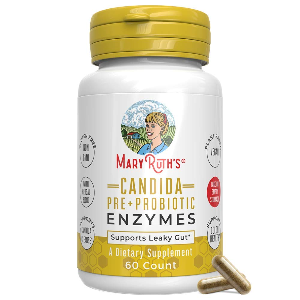 Candida Cleanse Enzymes by MaryRuth - Extra Strength Probiotic w/Prebiotic Blend Supports Healthy Digestion and Yeast Overgrowth - Candidase Extra Strength - Candida Overgrowth - Vegan - 60 Count