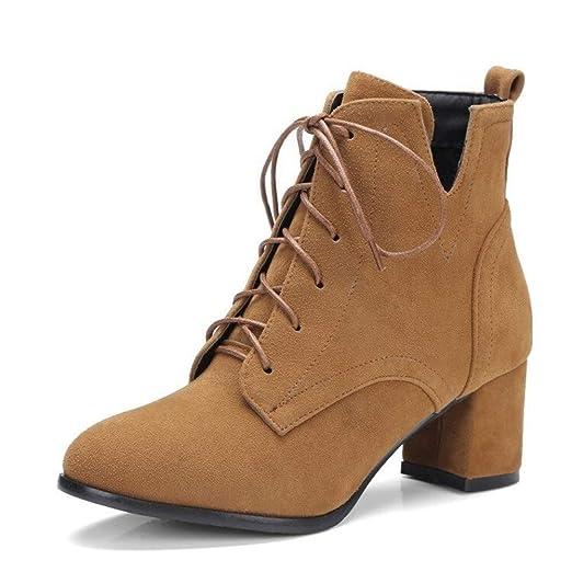 Caren Mujer Zapatos de tacón de Bloque Botas Cortas de ...