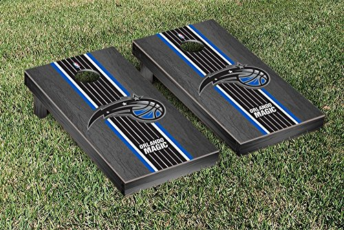Orlando Magic NBA Basketball Regulation Cornhole Game Set Onyx Stained Stripe Version by Victory Tailgate
