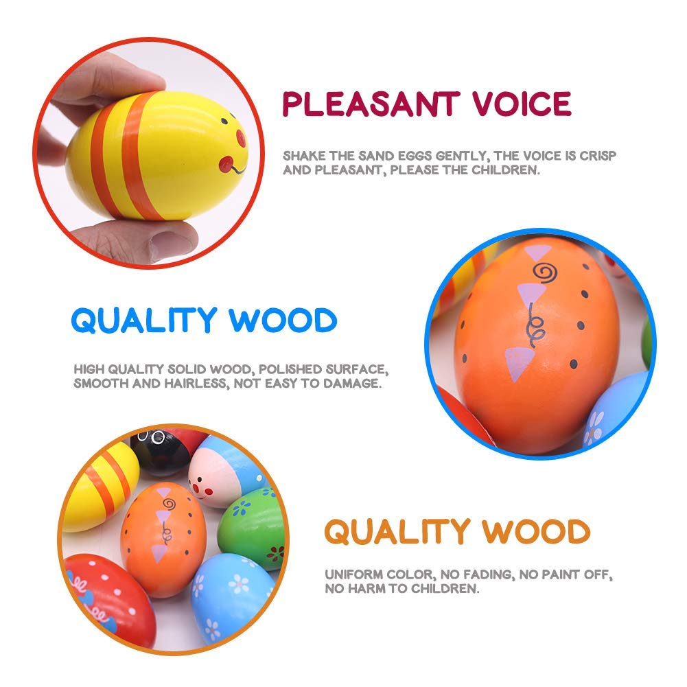15 PCS Wooden Percussion Musical Egg Maracas Egg Shakers Easter Props