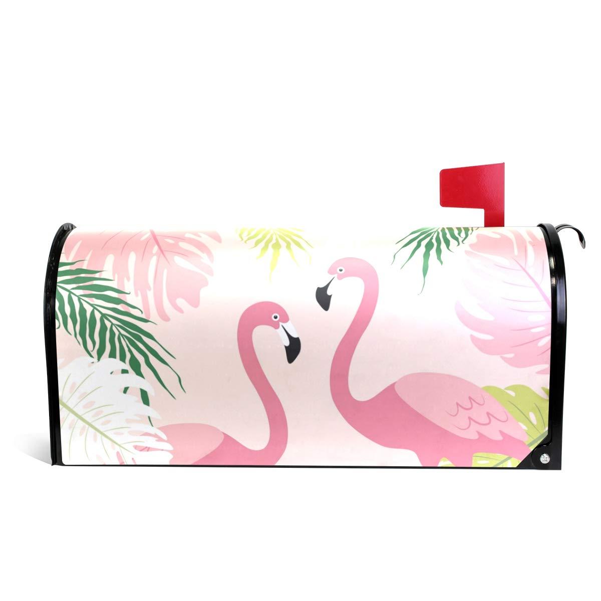 senya Home Garden Cute Tropical Flamingos Pattern Magnetic Mailbox Cover Standard by senya