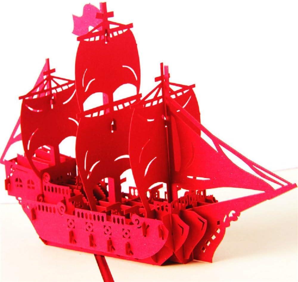 Tarjeta de graduación, Deesospro® tarjeta de felicitación de regalo para niños o amigos, tarjeta de felicitación emergente 3D con hermoso corte de papel, sobre incluido (velero)