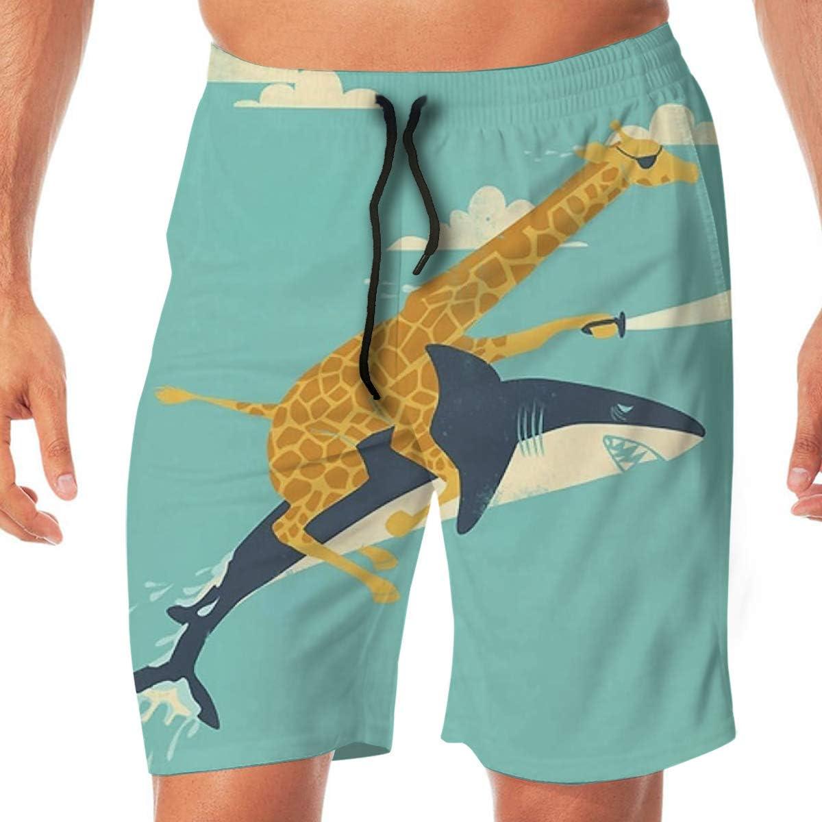 Quick Dry Men's Beach Shorts Funny Giraffe Shark Print Surfing Trunks Surf Board Pants Pockets