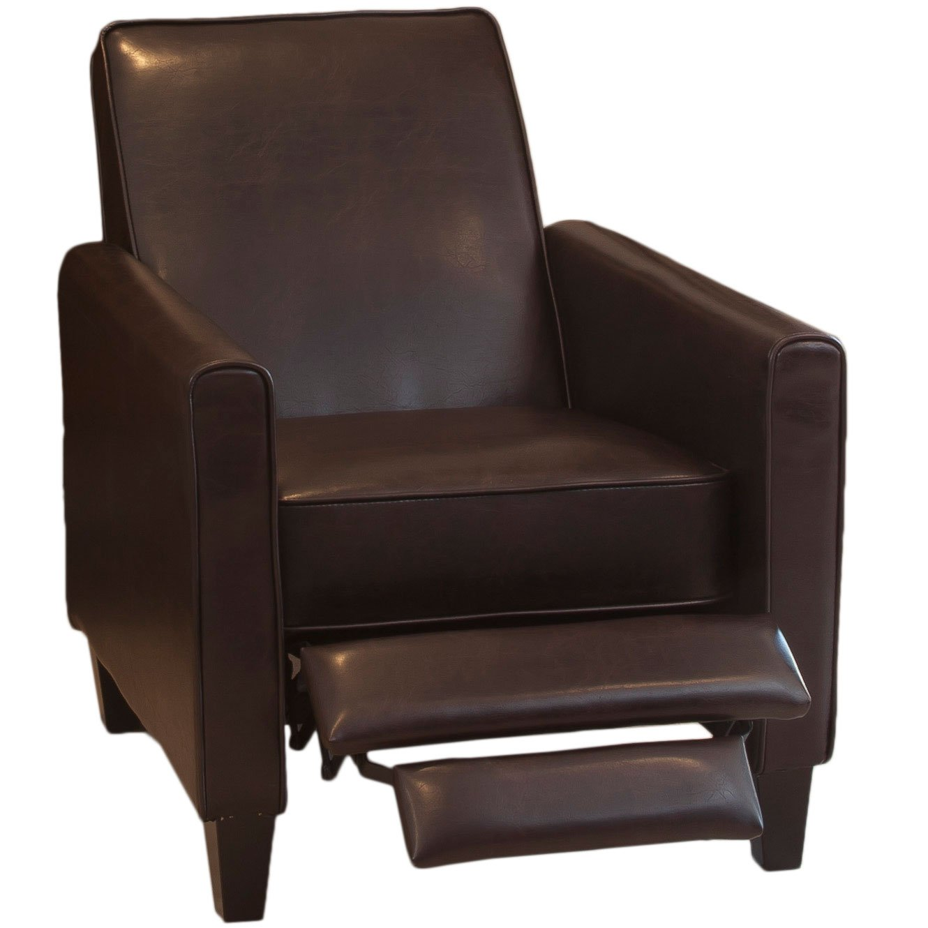 Great Deal Furniture Lucas Brown Leather Modern Sleek Recliner Club Chair