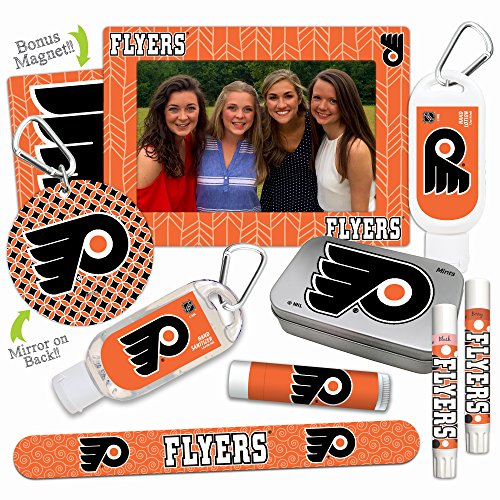 (NHL Platinum Variety Sets— with 2 Lip Shimmers, Lip Balm SPF 15, Nail File, Mirror, Sanitizer, Lotion, Mint Tin, Magnetic Picture Frame. Philadelphia Flyers Gifts for Women)