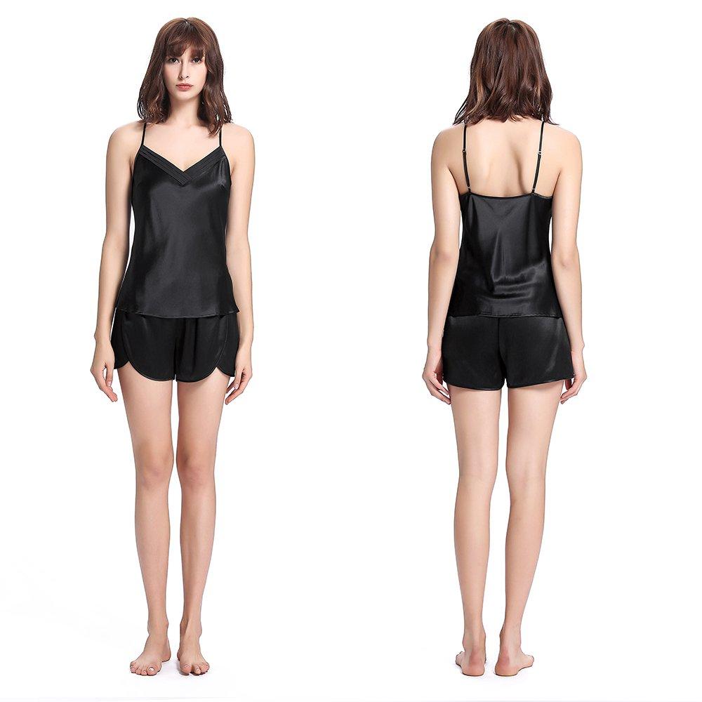 LILYSILK Women 100 Silk Pajamas Set 3 pcs 22 Momme Sleepwear Luxury Gift for Her Black 4-6/S