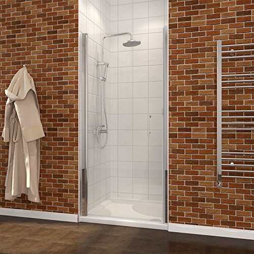SUNNY SHOWER FP One Panel Pivot Shower Doors, Clear Glass in Chrome ()