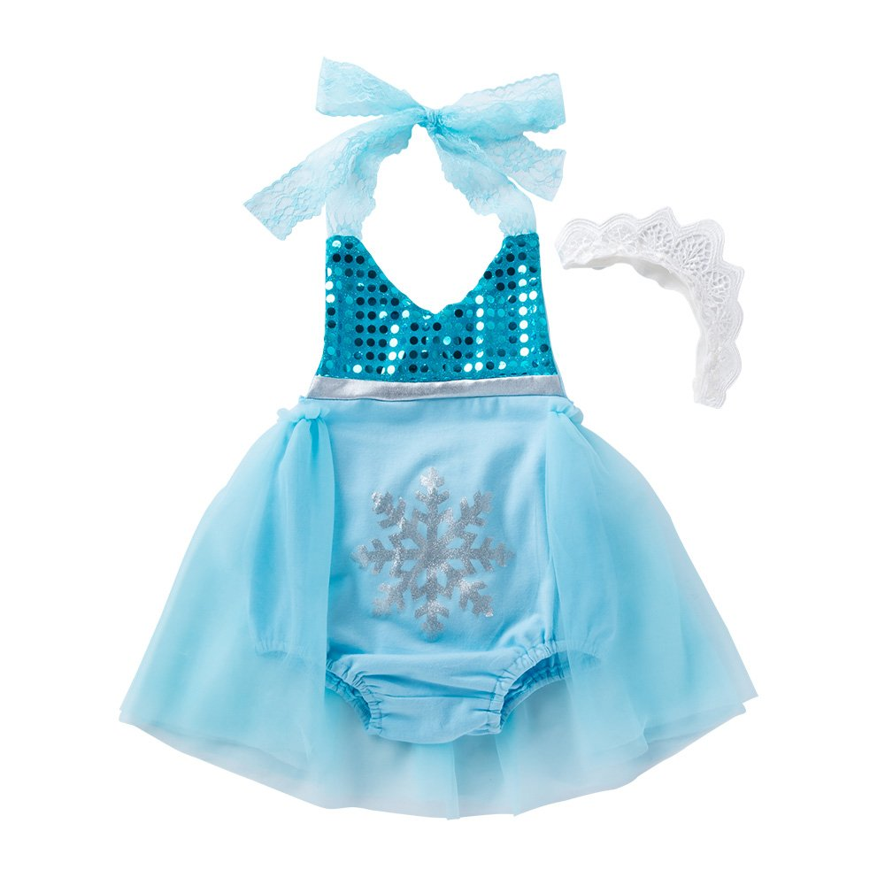0-6 Months Blue Moomintroll Little Girls Birthday Party Cosplay Outfit Princess Costume Dress with Headband