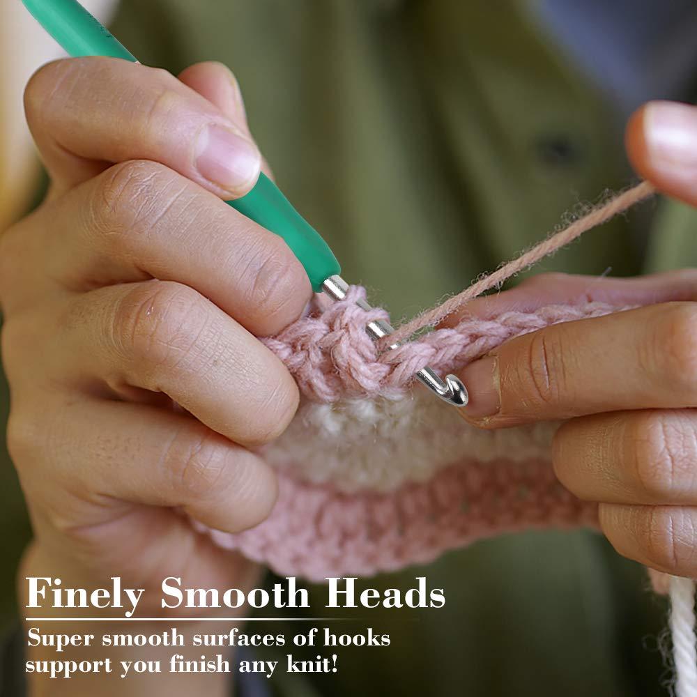 32Pack Crochet Hooks Set Ergonomic Soft Handles - Aluminum Blunt Needles - Knitting Needle - 2.0mm-8.0mm, Best Gifts for Mom by Flammae (Image #3)