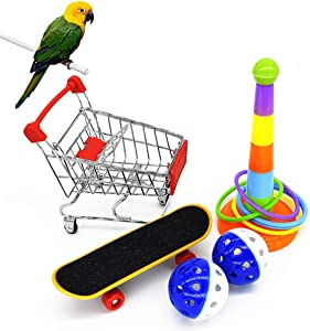 5Pack Parrot Toys, Parakeet Toys Cockatiel Toys Bird Toy, Mini Shopping Cart, Training Rings, Skateboard Stand Perch and Ball, Bird Toys for Cockatiels for Budgie Parakeet Cockatiel Conure Lovebird