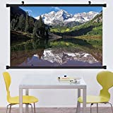 Gzhihine Wall Scroll Lake House Decor Collection Snow Covered Maroon Bells Autumn Trees Mountain Reflection on Lake Scenery Wall Hanging Green Blue White 24''x67''