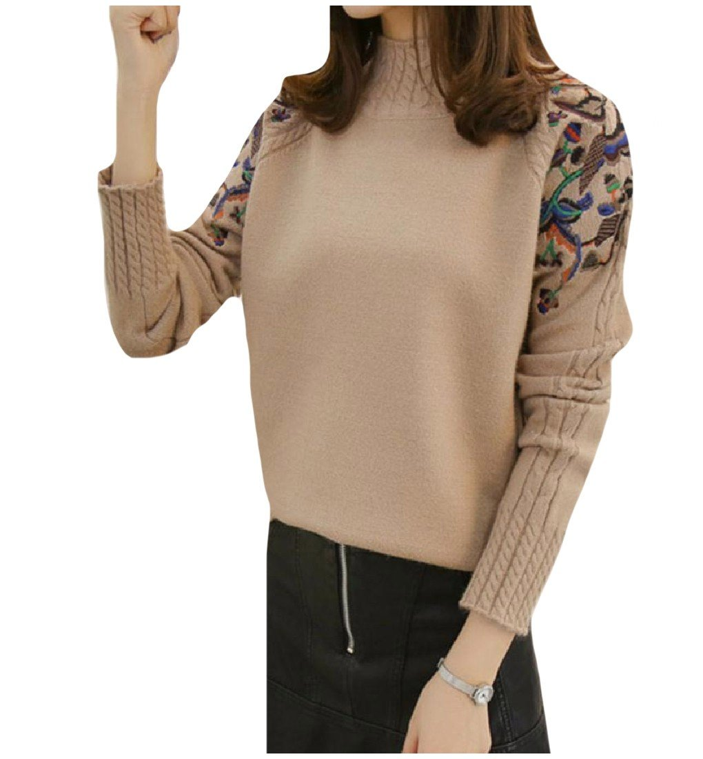 RDHOPE-Women Versatile Embroidered Mock Neck Sweater Knitting Shirt
