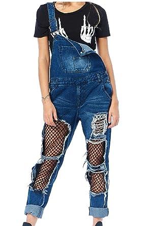 99be154f13b Gocgt Women s High Waist Fishnet Distressed Ripped Pockets Denim Jumpsuit  Romper Blue XS