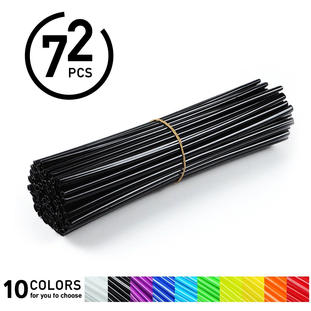 72Pcs Spoke Skins - Motocross Wheel Covers, Dirt Bikes - 10 Colors ( Color : Black )