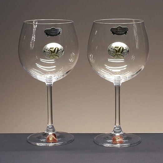 la galaica | - Set de 2 Copas de Cristal de Vino o Agua | Regalo para 50 Aniversario - Bodas de Oro | Gastro | Incluye Aplique Bilaminado y Estuche de protección | Envío Rápido: Amazon.es: Hogar