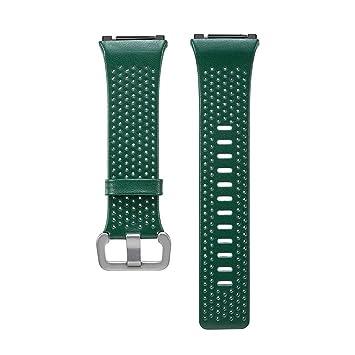 Pulsera de Repuesto de Cuero Asidue para Reloj Inteligente Fitbit Ionic, Color Verde