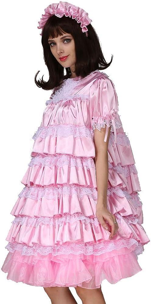 sissy adult baby  bib red satin lace special needs ladies geriatric  bib fancy dress cosplay,b63