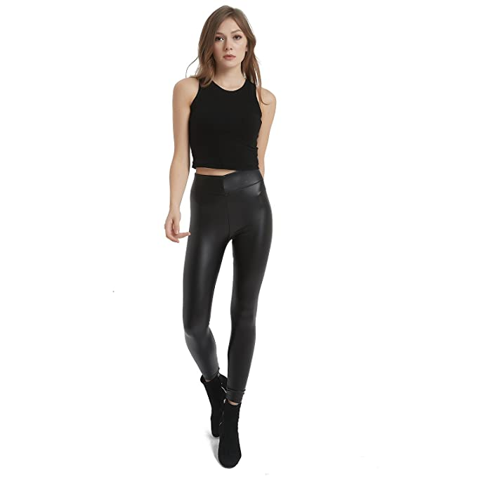 28fed52e347 ... Petite Plus Size by Retro. MCEDAR Women s Faux Leather Legging Pants  Girls Black High Waist Sexy Skinny Outfit for Causal