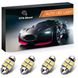 "YITAMOTOR 4 Pcs Festoon 27 28mm 1.10"" 5050 4SMD Dome Map LED Light Bulbs DE3022 3528, Color White"