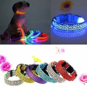 Pink Lizard M Pet Cat Dog Nylon LED Flashing Safety Neck Collar