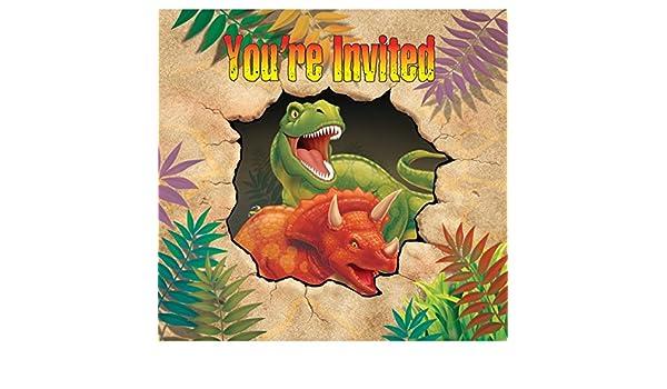 16 Piezas Set De Invitaciones Dinosaurio Con 8 Tarjetas