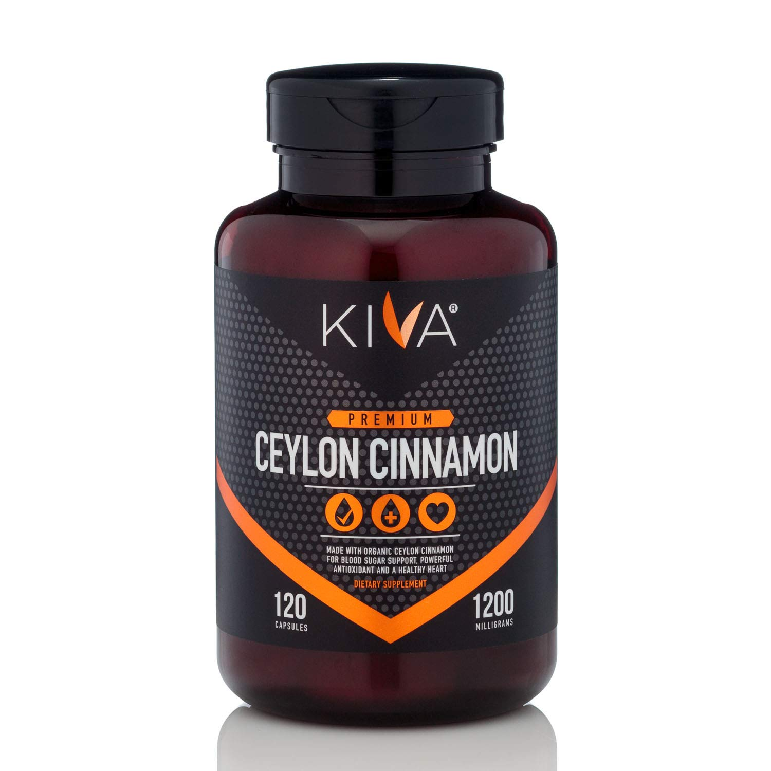 Kiva Ceylon Cinnamon Powder Capsules (120 Veggie Capsules), Made from Freshly Grounded Organic, Non-GMO Cinnamon (Anti-inflammatory, Blood Sugar, Antioxidant)