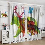 smallbeefly Animal Room Darkening Curtains Alaska Wild Animals Bears Wolfs Eagles Deers in Abstract Colored Shadow like Print Blackout Draperies For Bedroom 96''x84'' Multicolor
