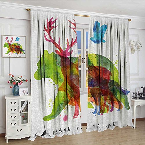 smallbeefly Animal Room Darkening Curtains Alaska Wild Animals Bears Wolfs Eagles Deers in Abstract Colored Shadow like Print Blackout Draperies For Bedroom 96''x84'' Multicolor by smallbeefly