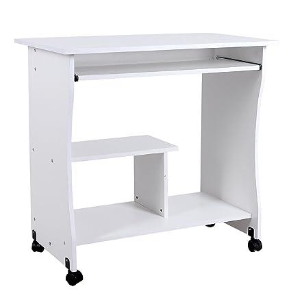 Lyndan - Arcata blanco mesa de ordenador escritorio compacto para ...