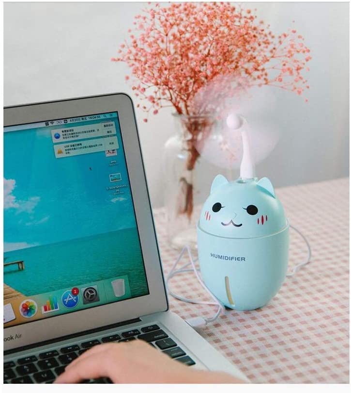 Chang Mini Electric Fan Humidifier Handheld Portable Mute with Table Lamp Plug-in Power Supply USB Interface Fan Home Office Travel