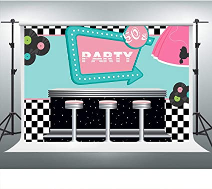 Rockin 50s Diner Backdrop For Party 1950s Sock Hop Theme Party Photography Backgrounds 7x5ft Photo Booth Studio Props Zyvv0515