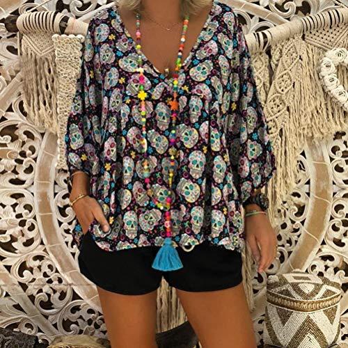 Col Manches Crane Longues Femme Plus Noir Taille 3 Mode T Femmes JIANGfu Occasionnelles 4 Shirt Chemisier V Manches Imprimer Chemisier wRaWX6x