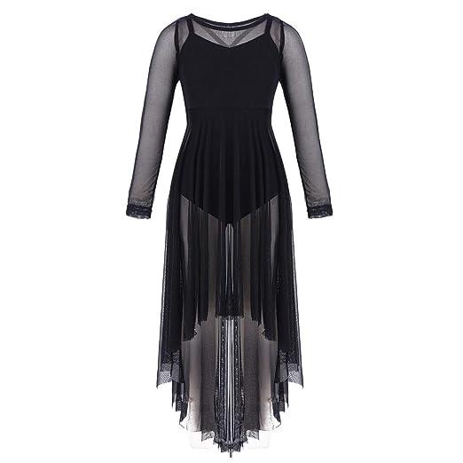 FEESHOW Girls Mesh Long Sleeve Ballet Lyrical Dance Dress Cover up High Low  Hem Black 8 4eb328946e38