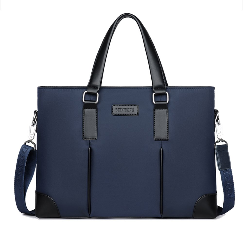 QLX Briefcase 14 Inch Notebook Business Casual Cross Section Waterproof Oxford Cloth Polyester Cotton Wear Shoulder Diagonal Large Space Fashion Slim Bag Blue