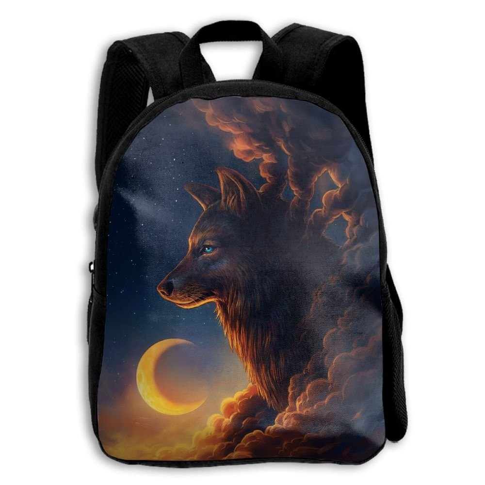 fidaljf Wolf Howls on the Moon子供の3dプリントファスナー付き旅行バッグ学校バックパック   B07DVXXKG8