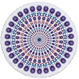 Round Beach Towel Microfiber Large Beach Blanket with Tassels Ultra Soft Super Water Absorbent Yoga Mat Sunscreen Shawl Wrap Multi-Purpose Towel 59 inch (Purple)
