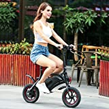 Wireless Smart E-Bike 350W 36V Folding Electric Bicycle with 12 Mile Range Cruise Control/APP Speed Setting (Black-6AH)