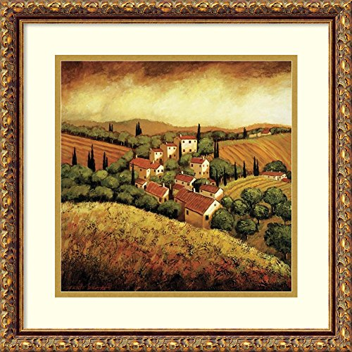 Framed Art Print 'Tuscan Hillside Village' by Santo De Vita (Hillside Village Tuscan)