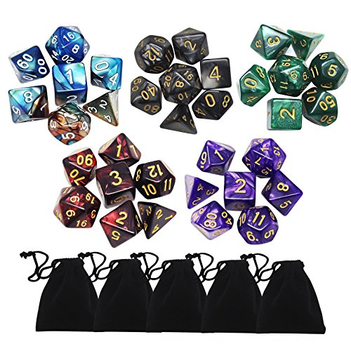 Yotako 35 Pieces Polyhedral Dice Set Colors Polyheral Game Dice with Velvet Dice Bag D4 D6 D8 D10 D12 D20 for RPG Dungeons and Dragons Dice Games Pathfinder Dice