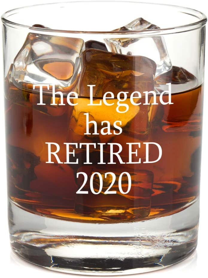 The Legend Has Retired Whiskey Glass - Funny Retirement Gag Idea for Women and Men – Gifts For Office Coworkers, Boss, Him, Her - 11oz Bourbon Scotch Glasses