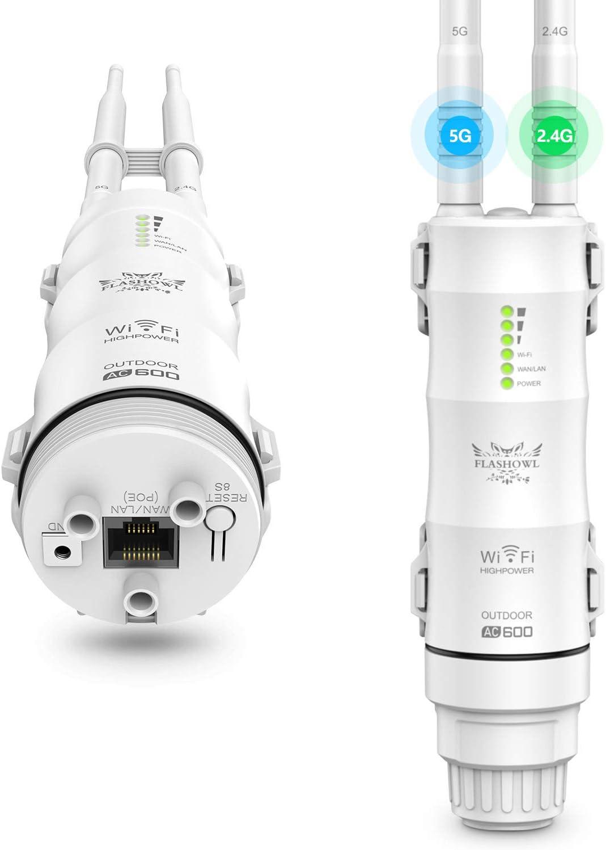 FLASHOWL Repetidor WiFi al Aire Libre Extensor de Alcance Wi-Fi AC600 Amplificador de señal Wi-Fi Amplificador WiFi Resistente a la Intemperie 2.4G ...