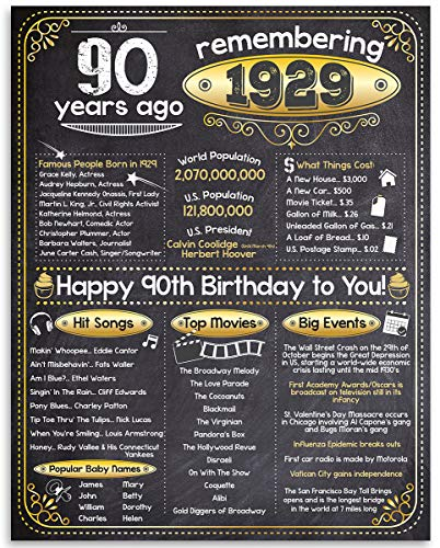 90th Birthday Poster - Remembering The Year 1929-11x14 Unframed Art Print - Makes a Perfect Birthday Gift Under $15 for Someone Turning Ninety
