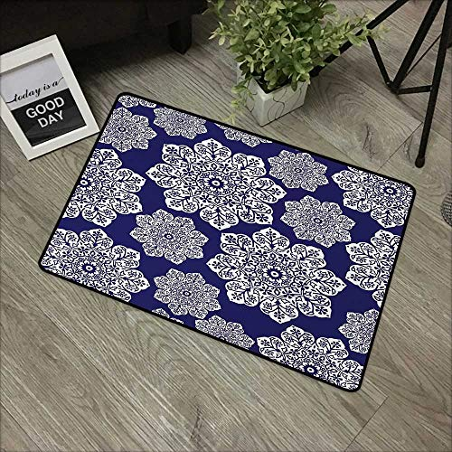 Learning pad W19 x L31 INCH Navy Blue,Floral Lace Graphic Print Snowflake Themed Pattern Ornate Circle Batik Texture,Blue White with Non-Slip Backing Door Mat Carpet