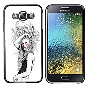 Jordan Colourful Shop - Bunny Ears Girl For Samsung Galaxy E5 E500 Personalizado negro cubierta de la caja de pl????stico