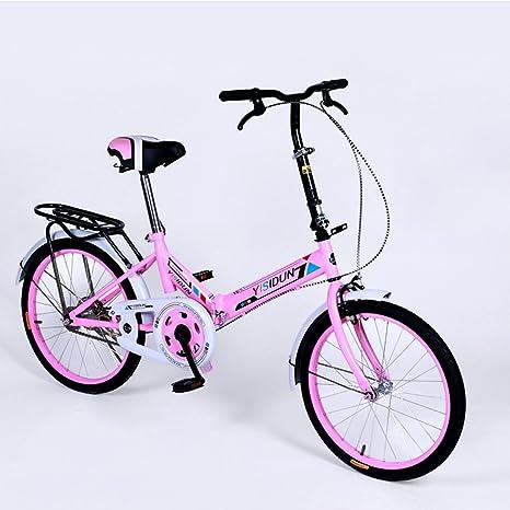 XQ 20 Pulgadas de Bicicleta Plegable Bicicleta de Velocidad Individual Hombres y Mujeres Bicicleta Bicicleta de los niños Adultos (Color : Pink): Amazon.es: Deportes y aire libre