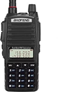 BaoFeng Radio UV-82+ 8W Handheld Dual Band VHF/UHF Two Way Ham Radio Rechargeable Long Range Walkie Talkies for Adults with Gamtaai NA-771 Telescopic Antenna &Acoustic Tube Earpiece (Black)