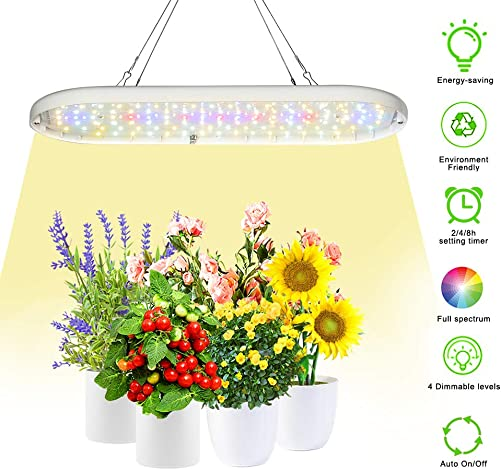 Grow Lights Full Spectrum LED Grow Lamp Plants Growing Lights for Hydroponic Indoor Plants Seeding Veg and Bloom Greenhouse Growing Lights with 2 4 8H Timer 4 Dimmable Level